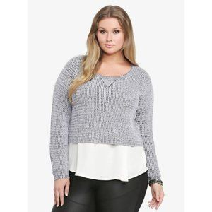 Torrid Heather Grey Marled Cropped Sweater 1X